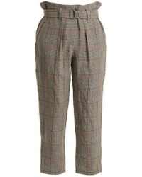 Brunello Cucinelli - Check Paperbag-waist Cropped Trousers - Lyst