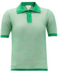 Bottega Veneta Striped Cotton-blend Knitted Polo Top - Green