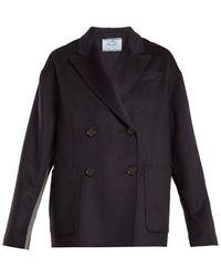 Prada - Double-breasted Peak-lapel Wool-blend Coat - Lyst