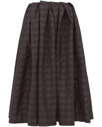 Marques'Almeida Pleated Checked Taffeta Midi Skirt - Black