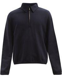 Raey Oversized Half-zip Cotton-jersey Track Top - Blue