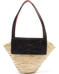 Christian Louboutin Loubishore Small Leather And Straw Basket Bag - Black