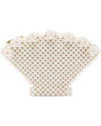 Shrimps Cream Shell Faux Pearl Beaded Clutch - Multicolour