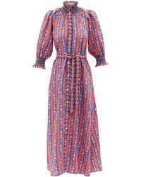 Muzungu Sisters Alexia Hand-embroidered Linen Maxi Dress