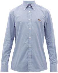 Ralph Lauren Purple Label Logo Embroidered Gingham Cotton Shirt - Blue