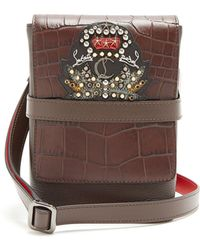Christian Louboutin - Benech Small Embellished Leather Cross Body Bag - Lyst