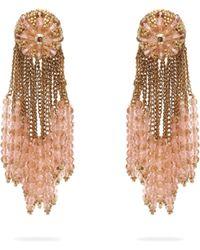 Oscar de la Renta Chain Cluster Beaded Earrings - Multicolour