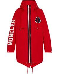 Moncler Parka à capuche et logo Granduc - Rouge