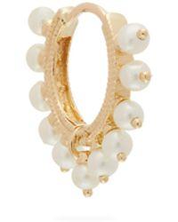 Maria Tash Boucle d'oreille en or 18 carats et perles Coronet - Multicolore