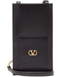 Valentino Garavani V-logo Leather Crossbody Pouch - Black
