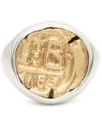 M. Cohen Engraved-coin Sterling-silver Signet Ring - Metallic