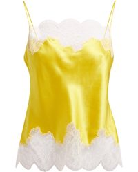 Carine Gilson - Lace Trimmed Silk Satin Camisole - Lyst