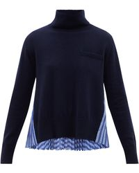 Sacai ウール&コットン タートルネックセーター - ブルー