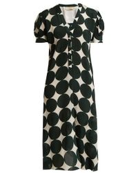 Adriana Degreas - - Cacao Polka Dot Print Silk Dress - Womens - Green Multi - Lyst