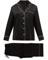 Fleur Of England Signature Piped Silk-satin Pajamas - Black