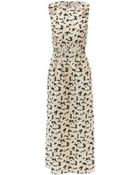 Raey - Elasticated Cut-out Abstract-print Cotton Dress - Lyst