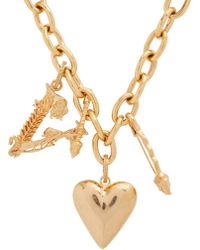 Versace Heart And V-charm Necklace - Metallic