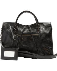 Balenciaga Classic City Leather Shoulder Bag - Black
