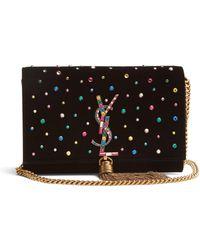 Saint Laurent - Kate Small Crystal-embellished Cross-body Bag - Lyst