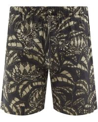 Desmond & Dempsey Pardalis Reptile-print Cotton-poplin Pyjama Shorts - Black
