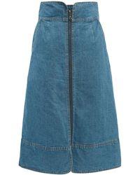 Sea Piper Zipped Denim Midi Skirt - Blue