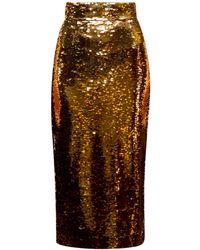 Dolce & Gabbana High Rise Sequinned Pencil Skirt - Metallic