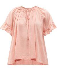 Loup Charmant Marina Ruffled Organic-cotton Voile Top - Pink
