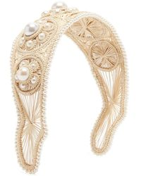 Magnetic Midnight Faux Pearl-embellished Straw Woven Headband - White