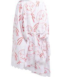 Simone Rocha Lady Print Asymmetric Cotton Skirt - White