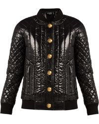 Balmain - Quilted High Shine Bomber Jacket - Lyst