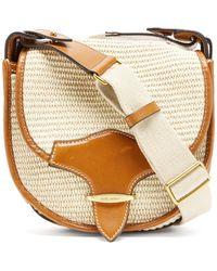 Isabel Marant Botsy Leather-trimmed Raffia Shoulder Bag - Multicolour