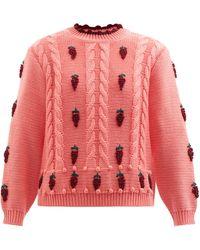 Shrimps Linden Wool-blend Cable-knit Sweater - Pink