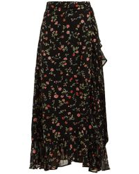 Ganni - Ruffled Floral-print Georgette Wrap Skirt - Lyst