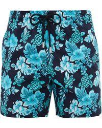 Vilebrequin Short de bain à imprimé tropical Moorise - Bleu