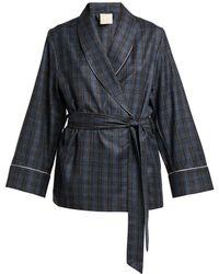 Morpho + Luna Amelie Checked Wool Robe - Gray