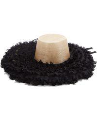 Eliurpi Ruffle Trimmed Straw Hat - Black