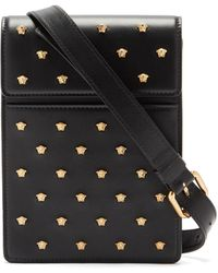 Versace Medusa-studded Leather Cross-body Bag - Black