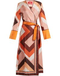 F.R.S For Restless Sleepers - Dolos Geometric Print Silk Wrap Dress - Lyst