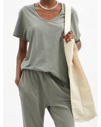 Les Tien スクープネック コットンtシャツ - マルチカラー