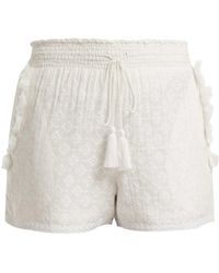 Talitha - Tassel-trimmed Cotton And Silk-blend Shorts - Lyst