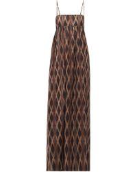 Raey Empire-waist Aztec-print Cotton Maxi Dress - Brown