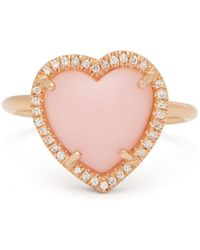 Irene Neuwirth Bague en or rose 18 carats, opale et diamants Love