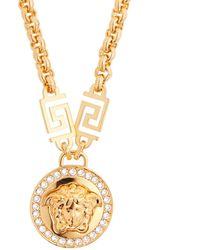 Versace - Crystal Medusa Head Greca Chain Necklace - Lyst