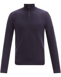 Ralph Lauren Purple Label シードステッチ ジップネック ウールセーター - ブルー