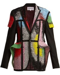 Germanier Bead And Crystal Embellished Blazer - Black