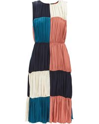 Colville パッチワーク ギャザークレープドレス - ブルー
