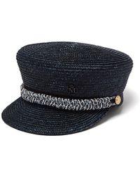 Maison Michel Abby Straw Baker Boy Cap - Blue