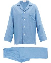 Emma Willis Piped Gingham Cotton Pyjamas - Blue