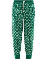 Gucci GG-jacquard Wool-blend Track Pants - Green