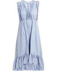 MASSCOB - Sabinal Ruffled Cotton Midi Dress - Lyst